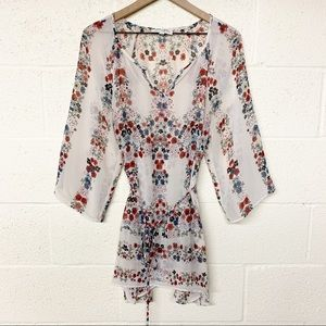 Jessica Simpson maternity sheer floral blouse M